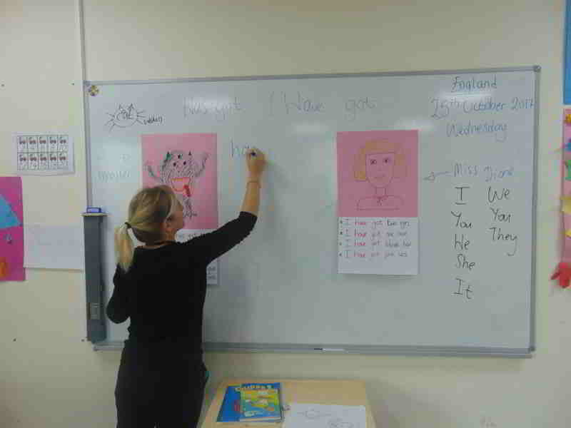 Öğrencilerimiz Has got /have got kalıbını çizdikleri eğlenceli karakterler üzerinde kullanarak pekiştirdiler.